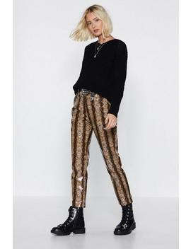 Snake Believe High Shine Pants by Nasty Gal