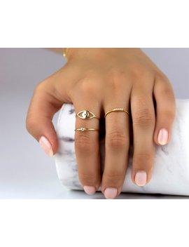 Eye Gold Ring, Minimalist Ring, Evil Eye Ring, Dainty Gold Ring, Delicate Ring, Thin Gold Ring, Simple Ring, Minimal Jewelry, Evil Eye by Etsy