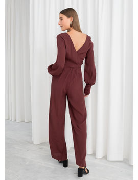 Plunging Belted Jumpsuit by & Other Stories