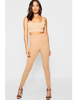 Crepe High Waisted Leggings by Boohoo