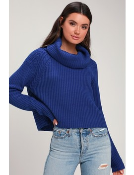 Anzen Royal Blue Cowl Neck Sweater by Lulus