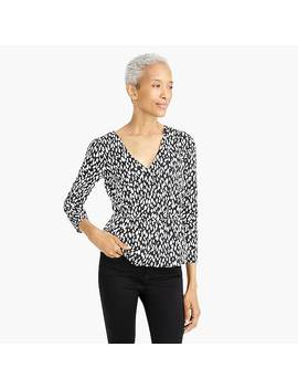 Long Sleeve Peplum Top In Printed Satin Crepe by J.Crew