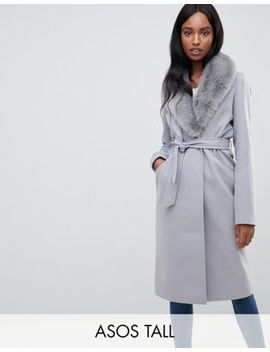 Asos Design Tall Faux Fur Collar Coat With Tie Belt by Asos Design