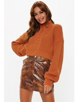 Petite Rust Balloon Sleeve Cable Knit Cropped Sweater by Missguided