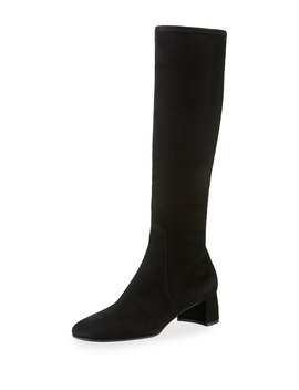Stretch Suede Knee Boot With Logo Heel by Prada