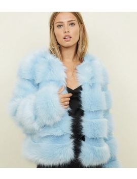 Pale Blue Pelted Faux Fur Coat by New Look