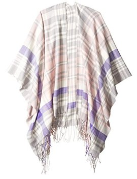 Orchid Row Women's Oxford Plaid Wool Effect Blanket Wrap Ruana by Orchid+Row