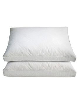 Cotton Quilted White Goose Feather And Down Pillow 2pk White   Blue Ridge Home Fashions® by Blue Ridge Home Fashions