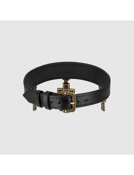 Leather Choker With Cross Pendants by Gucci