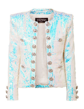 Button Embellished Sequined Twill Blazer by Balmain