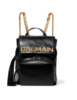 Embellished Textured Leather Backpack by Balmain
