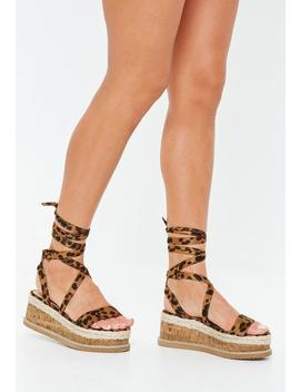 Leopard Print Lace Up Flatform Sandals by Missguided