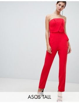 Asos Design Tall Structured Bandeau Jumpsuit With Peg Leg by Asos Design