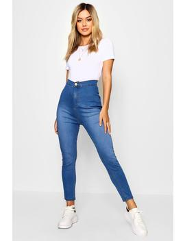 Petite High Rise One Button Skinny Jeans by Boohoo
