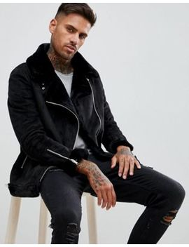 Boohoo Man Aviator Jacket With Faux Fur Lining In Black by Boohoo Man