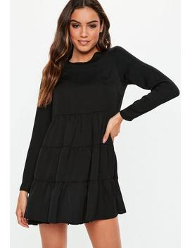 Black Long Sleeve Smock Dress by Missguided