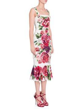 Charmeuse Stampa Peonie Flutter Hem Dress by Dolce & Gabbana