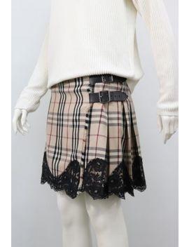 Burberry Nova Check Wool Kilt Pleated Skirt Lace Size Uk 10 Us 8 Eu 38 by Burberry