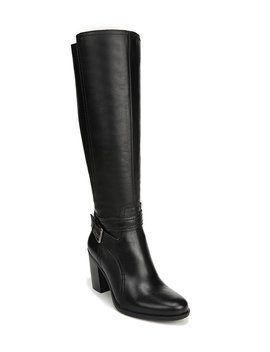 Kelsey Wide Calf Tall Leather Block Heel Boots by Naturalizer