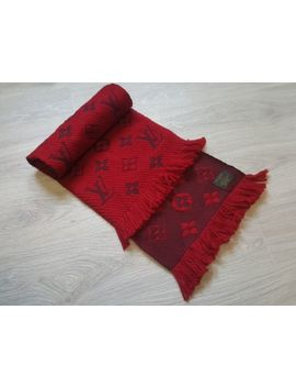 Authentic Louis Vuitton Red Wool Silk Logomania Scarf Monogram Wrap by Louis Vuitton