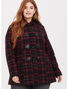 Red Plaid Knit Hooded Toggle Coat by Torrid