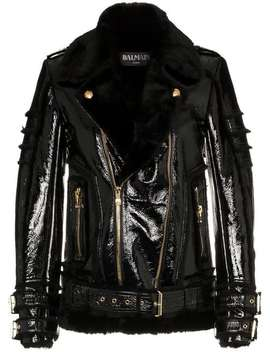Shearling Trim Leather Biker Jacket by Balmain