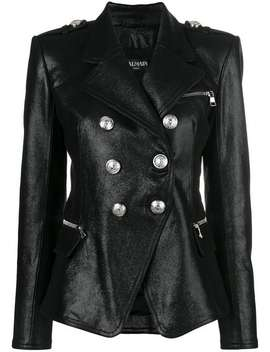 Double Breasted Leather Jacket by Balmain