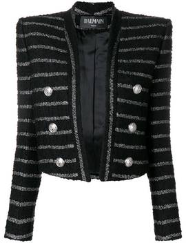 Open Front Stripped Jacket by Balmain