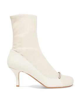 Valentino Garavani Crystal Embellished Leather Sock Boots by Valentino