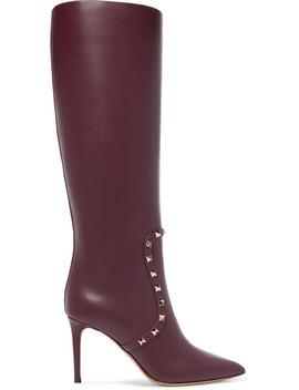 Valentino Garavani The Rockstud Leather Knee Boots by Valentino