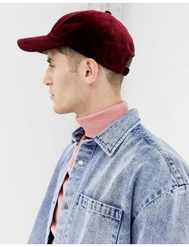 Collusion Baseball Cap In Burgundy Velour by Collusion