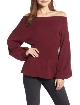 Waist Detail Off The Shoulder Sweater by Something Navy