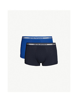Pack Of Two Logo Detail Slim Fit Stretch Cotton Trunks by Emporio Armani