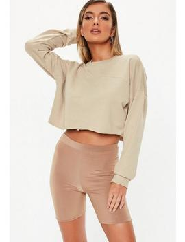 Sand Raw Hem Cropped Sweater by Missguided