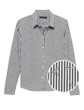 Quinn Boy Fit Champagne Stripe Shirt by Banana Repbulic