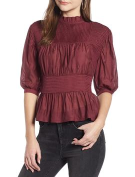 Pleated Peplum Top by Something Navy