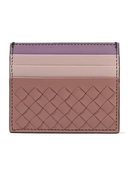 Color Block Intrecciato Leather Cardholder by Bottega Veneta