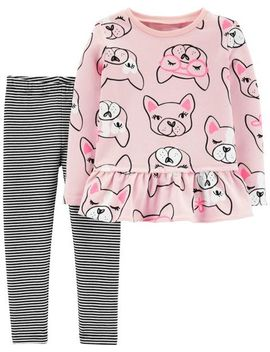2 Piece French Bulldog Ruffle Top & Striped Legging Set by Carter's