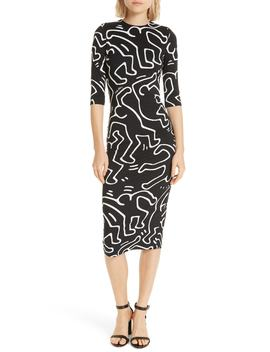 X Keith Haring Delora Fitted Dress by Alice + Olivia