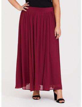 Red Chiffon Maxi Skirt by Torrid