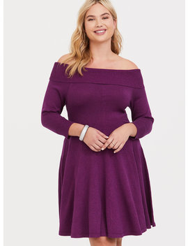 Berry Shimmer Off The Shoulder Sweater Dress by Torrid