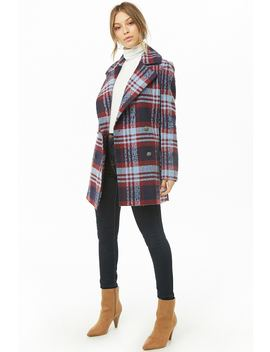 Check Double Breasted Coat by Forever 21