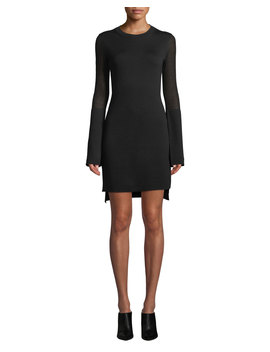 Long Sleeve Split Cuff Merino Wool Dress by Theory