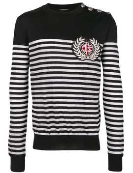 Striped Logo Fitted Sweater by Balmain