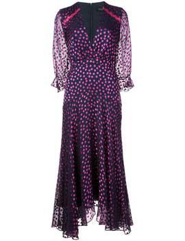 Dotted Ruffle Midi Dress by Saloni