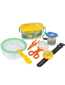 Fun Outdoor Toy Insect Bug Adventure Set; Bug Catcher Set For Kids Backyard Exploration Kit   Bug Collection Kit   Includes Butterfly Net, Compass, Tweezers, Transfer Capsule And Bug Carrier by Neliblu