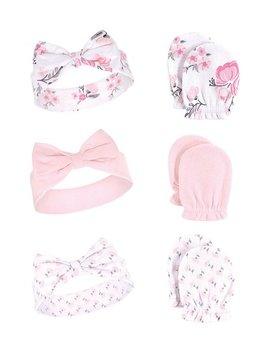 Pink Floral Six Piece Headband & Scratch Mitten Set by Hudson Baby