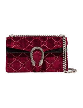 Dionysus Patent Leather Trimmed Embossed Velvet Shoulder Bag by Gucci