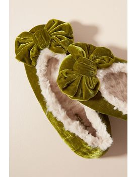Faux Fur Lined Velvet Ballerina Slippers by Anthropologie