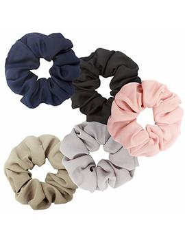 Ahoney 5 Pack Large Chiffon Flower Hair Scrunchies Elastics Hair Scrunchie Scrunchy Hair Ties Ponytail Holder For Women by Ahoney
